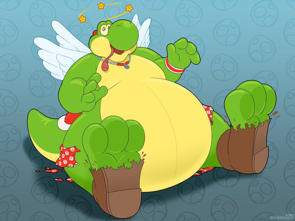 #KitsuneKitArt Kaaeru transformed from a frog in a rather lorge Yoshi