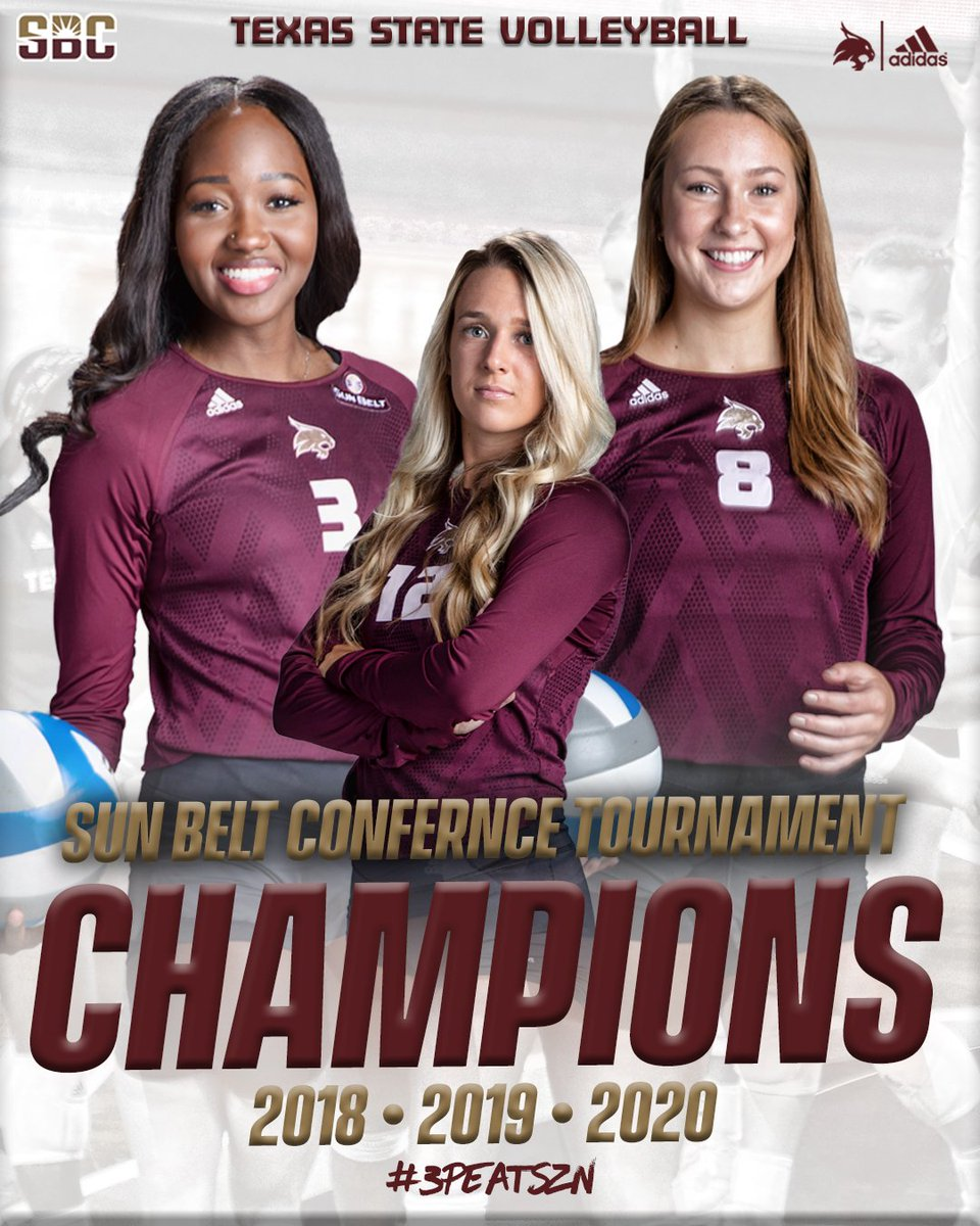 And now introducing, your back-to-back-to-back Sun Belt Conference Tournament Champions!!! #SunBeltVB #3PEATCOMPLETE #EatEmUp😼