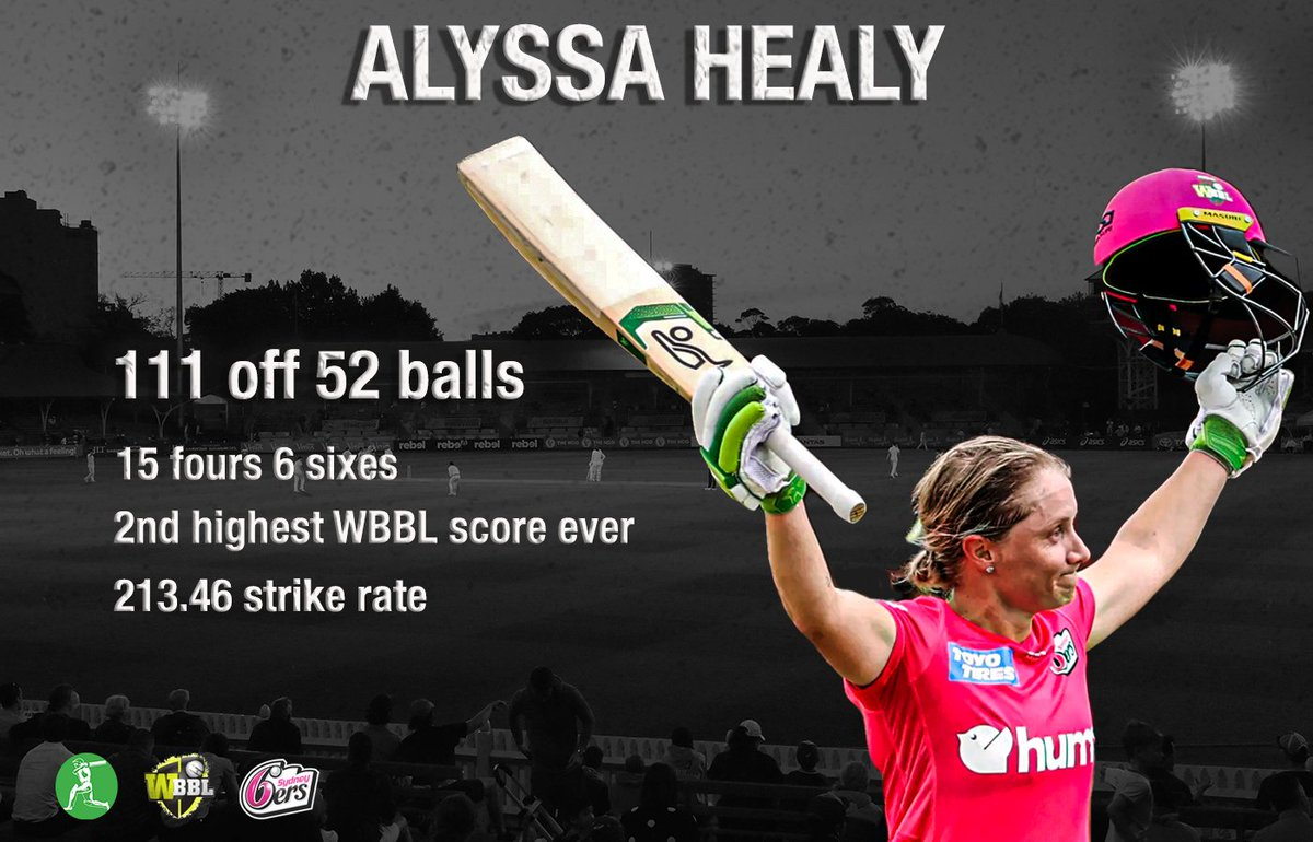 Talk about clearing boundaries... 🤯  @ahealy77 was at her destructive best yesterday in the @WBBL, blasting 111 from just 52 balls  Clearing Boundaries will be officially launched at the SCG on Wednesday when the WBBL finals get underway   📝