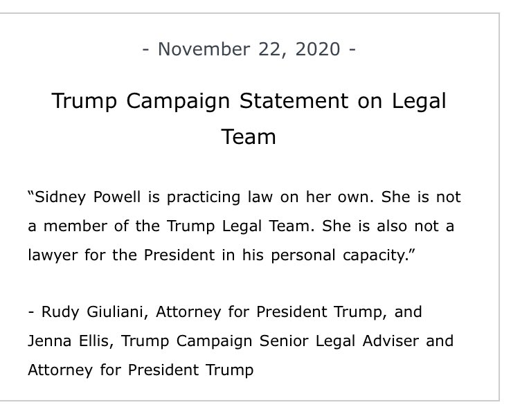 Um she was at the nearly 2-hour press conference w Giuliani and Trump mentioned her in a tweet. Hard to put the toothpaste back etc