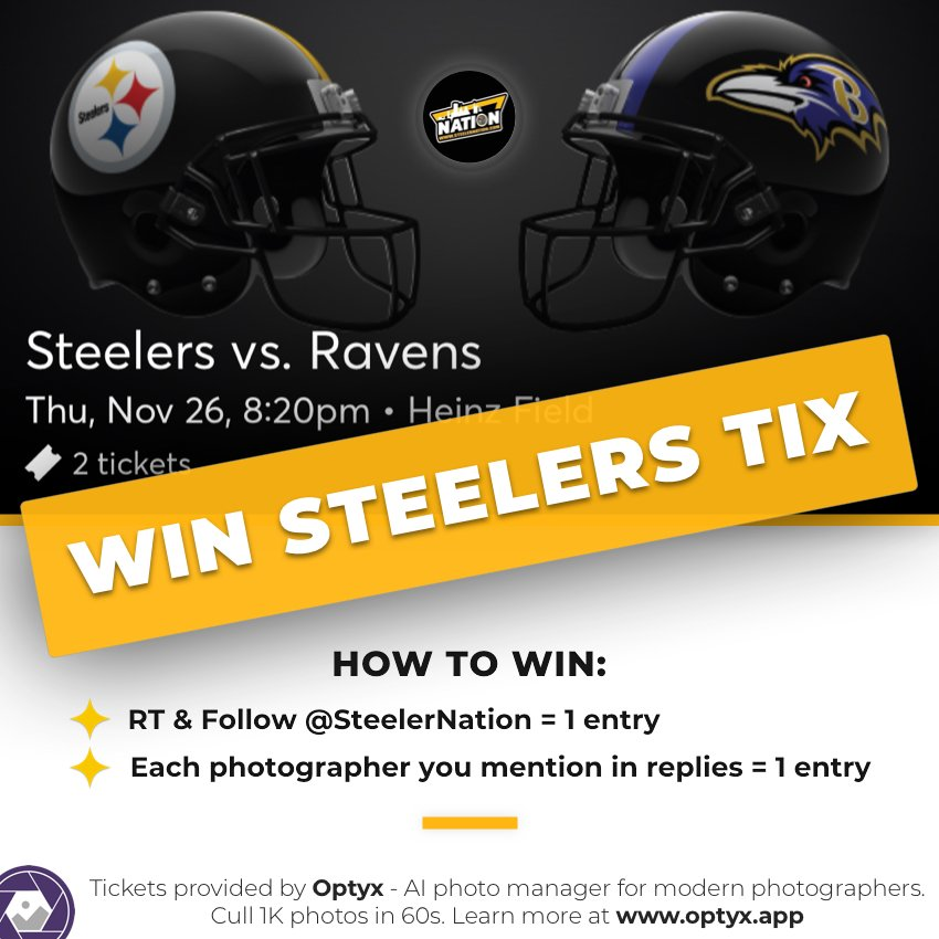 #SteelerNation we are giving away 2 tickets to the #Steelers and Ravens game on Thanksgiving.   To enter you need to 👇  -- Follow us and Retweet for 1 entry   -- Tag all of your photographer friends on this post and receive 1 entry each for all that you tag.   DO NOT DM US