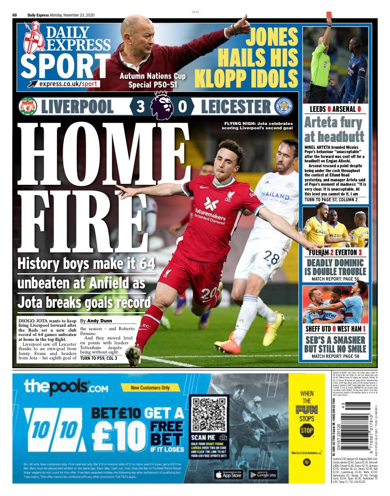 EXPRESS SPORT: Home fire #TomorrowsPapersToday