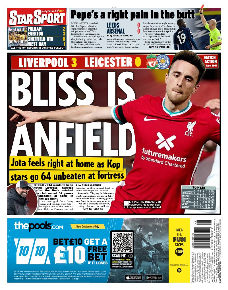 STAR SPORT: Bliss is Anfield #TomorrowsPapersToday