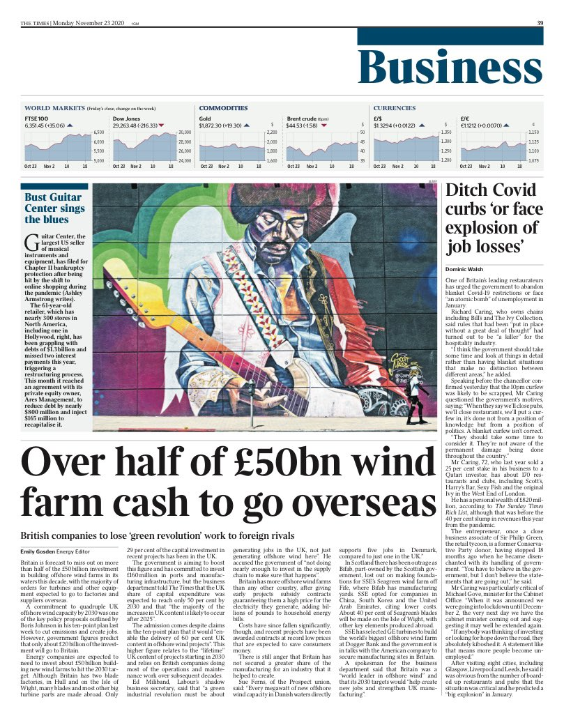 TIMES BUSINESS: Over half of £50bn wind farm cash to go overseas #TomorrowsPapersToday
