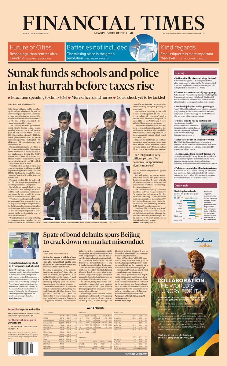 FT UK: ⁦@RishiSunak⁩ funds schools and police in last hurrah before taxes rise #TomorrowsPapersToday