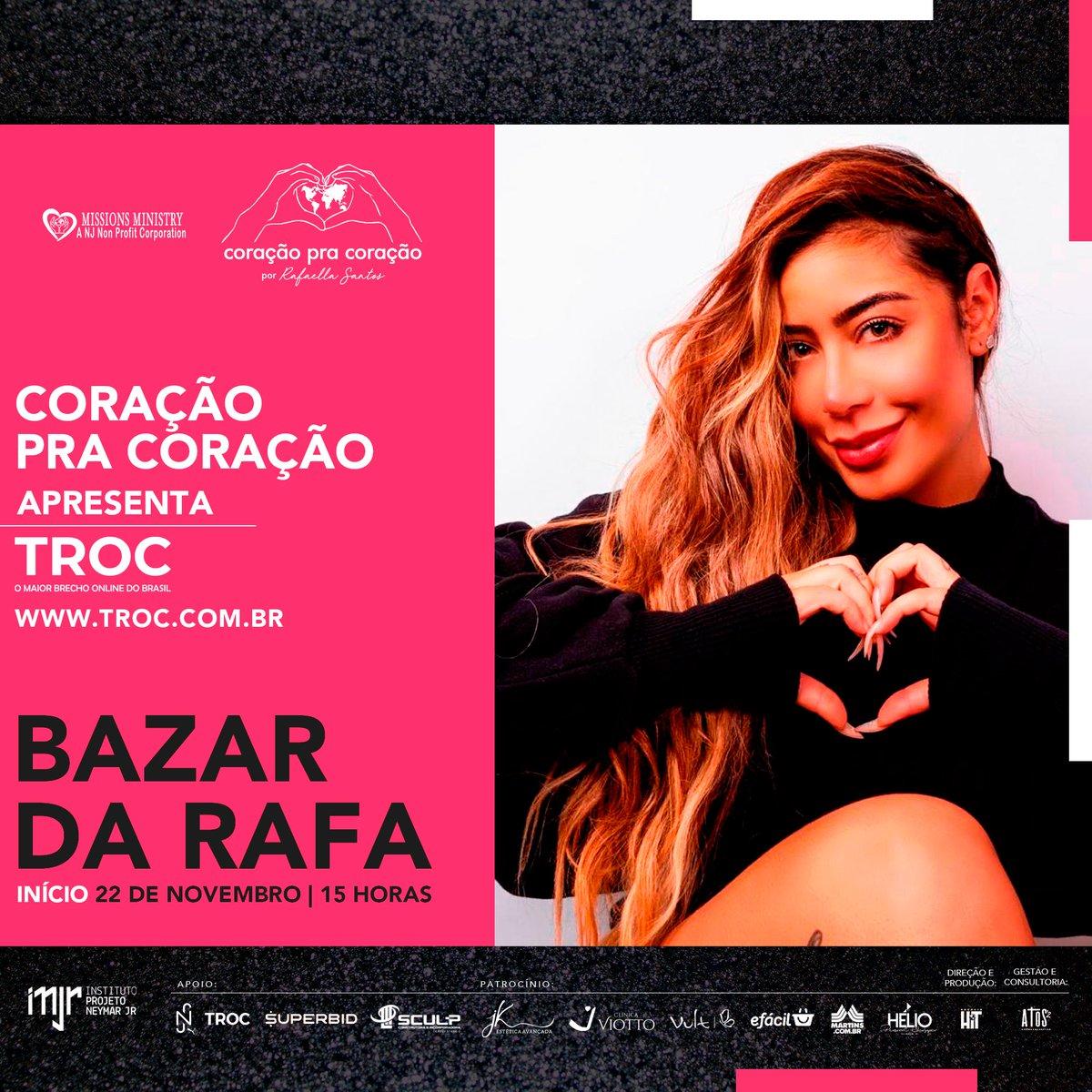 """Minha irmã @Rafaella_ organizou o projeto """"Coração pra Coração"""", uma ação beneficente lançada hoje no canal do YouTube do @InstitutoNJr . Tem um bazar na TROC . Tudo feito por ela com muito carinho ela. Confere 👉🏾"""