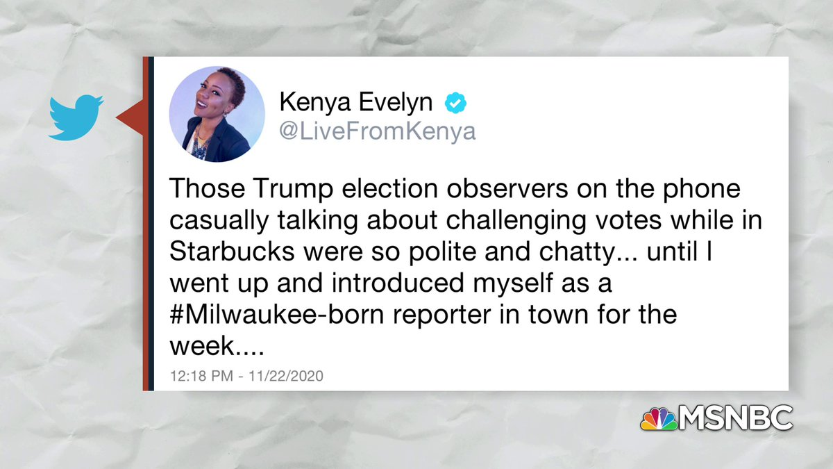 Earlier today, @LiveFromKenya tweeted about overhearing Trump election observers discussing their plans to challenge nearly every vote. Black Americans... feel frustrated that they turned out in droves and there are still attempts at suppressing their vote. #AmericanVoices