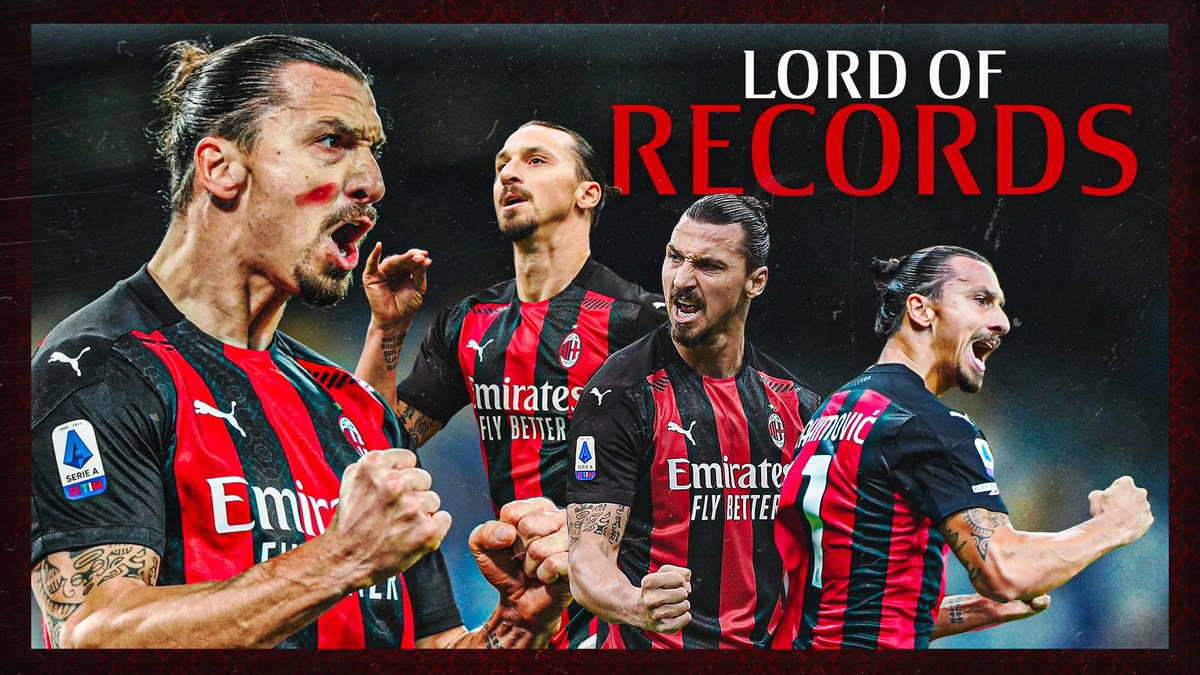 """10 goals in the first 8 matches at 39: ladies & gentlemen, the Lord of Records 🔴⚫  10 gol nelle prime 8 di A, a 39 anni: @Ibra_official, il """"Signore dei Record"""" 🔴⚫ #NapoliMilan #SempreMilan"""