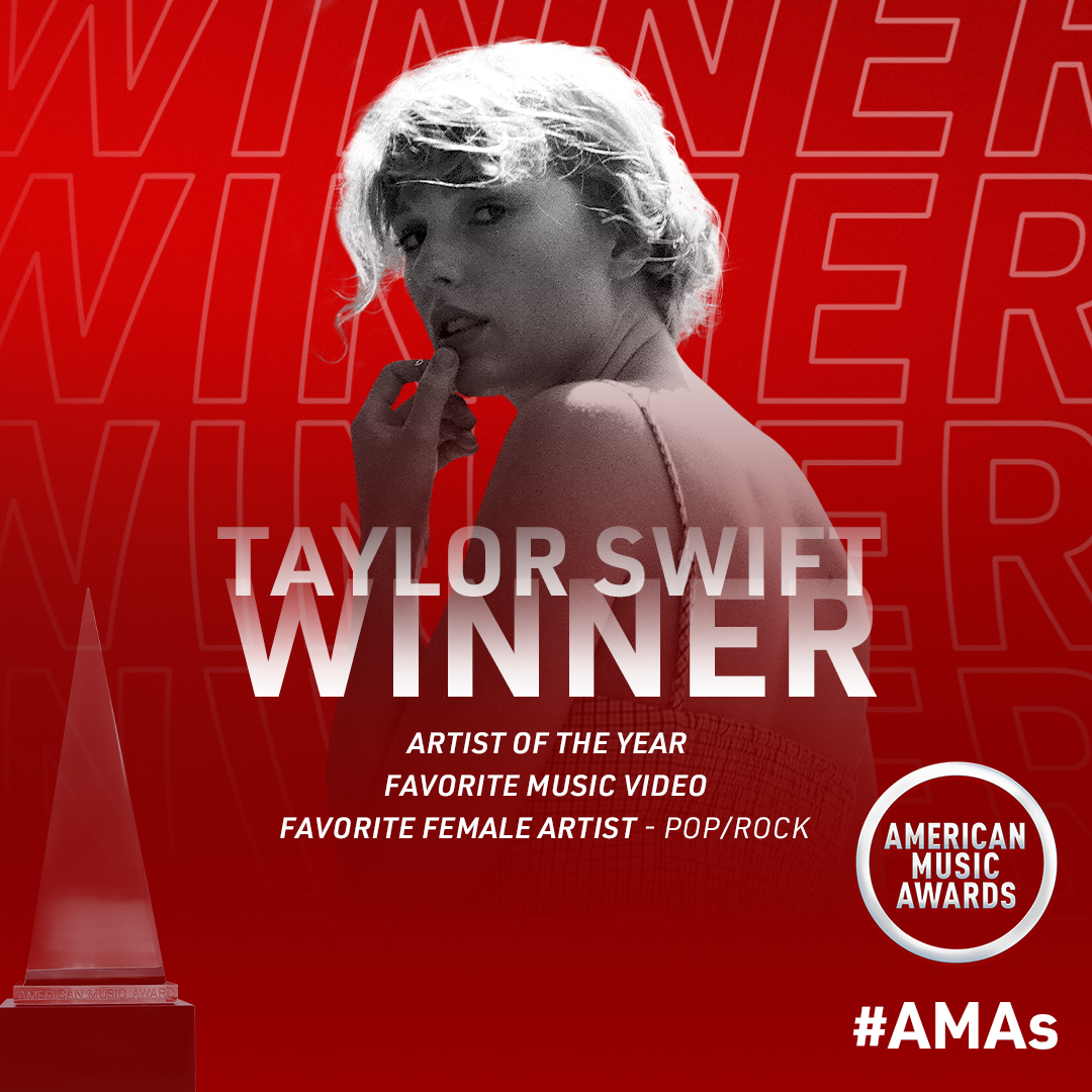 ARTIST OF THE YEAR!!! 🥳🎉 Congrats to @taylorswift13  for taking home three #AMAs tonight, including Favorite Female Artist Pop/Rock and Favorite Music Video for #cardigan. This is thanks to all of you. Thanks for the love and for voting every day. We love you!!! ♥️