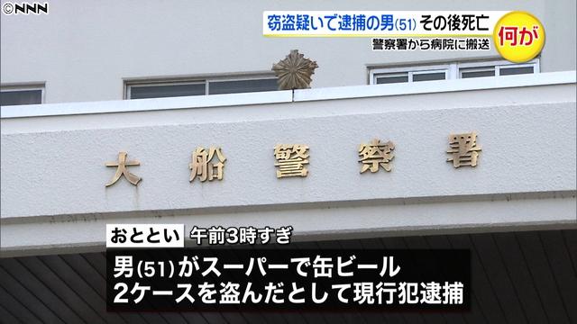 【死因特定へ】鎌倉市で窃盗疑いで逮捕された男、その後死亡男は容疑を否認し、連行される際も暴れていたが、パトカーに乗ってしばらくするとおとなしくなったという。署に到着後、取調室で顔色が悪く意識がないことに捜査員が気づき、病院に搬送されたが死亡した。