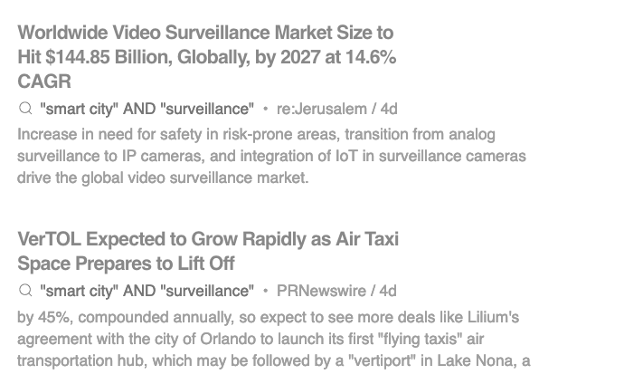 all of my 'smart city' + 'surveillance' keyword alerts are like: this business is booming! I know
