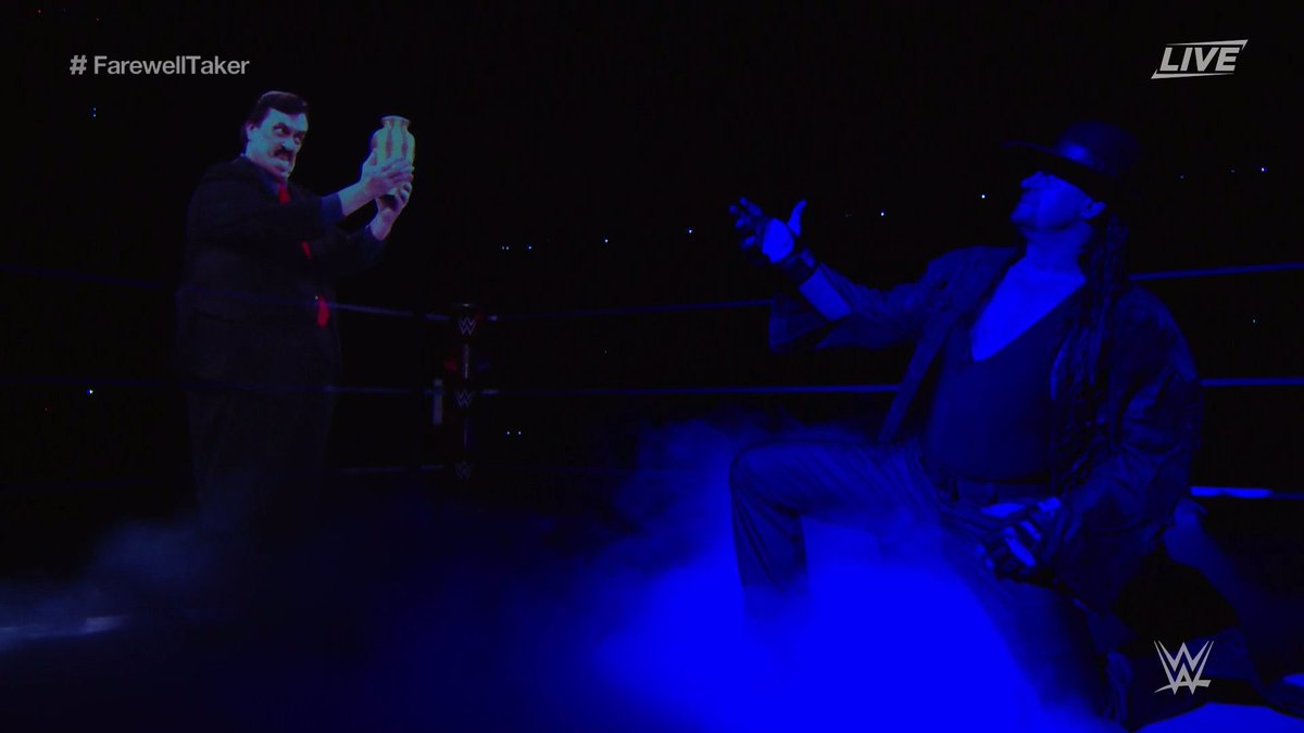 Thank you @undertaker.  I couldn't hold my tears watching your iconic entrance on your final farewell.  For 30 years you've fascinated multiple generations in India & Globally with your spine chilling character. You're a big chunk of our childhood, will miss u.  #FarewellTaker