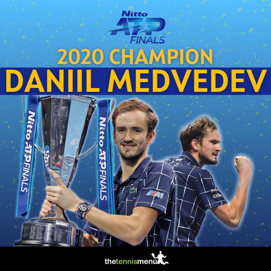 Congratulations to Daniil Medvedev on winning his first Nitto ATP Final  #tennis #atpfinals #medvedev #tennismatch #tennisfinal #atptour #tennispro #tennistour #thiem #compete #nittofinal  #tennislife #tennisplayer https://t.co/CdL8d7PWJx