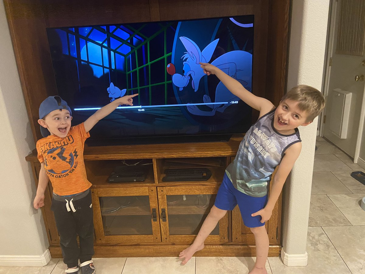"""@yakkopinky @Lacigirl They loved it, of course...totally recognized the song. (Tried to video, but my excited barking puppy made it impossible, haha) My eldest got to meet you a few years ago with me, so it was fun to finally let the kids """"meet"""" your alter ego in new adventures! Lots of fun. Bravo!😃"""
