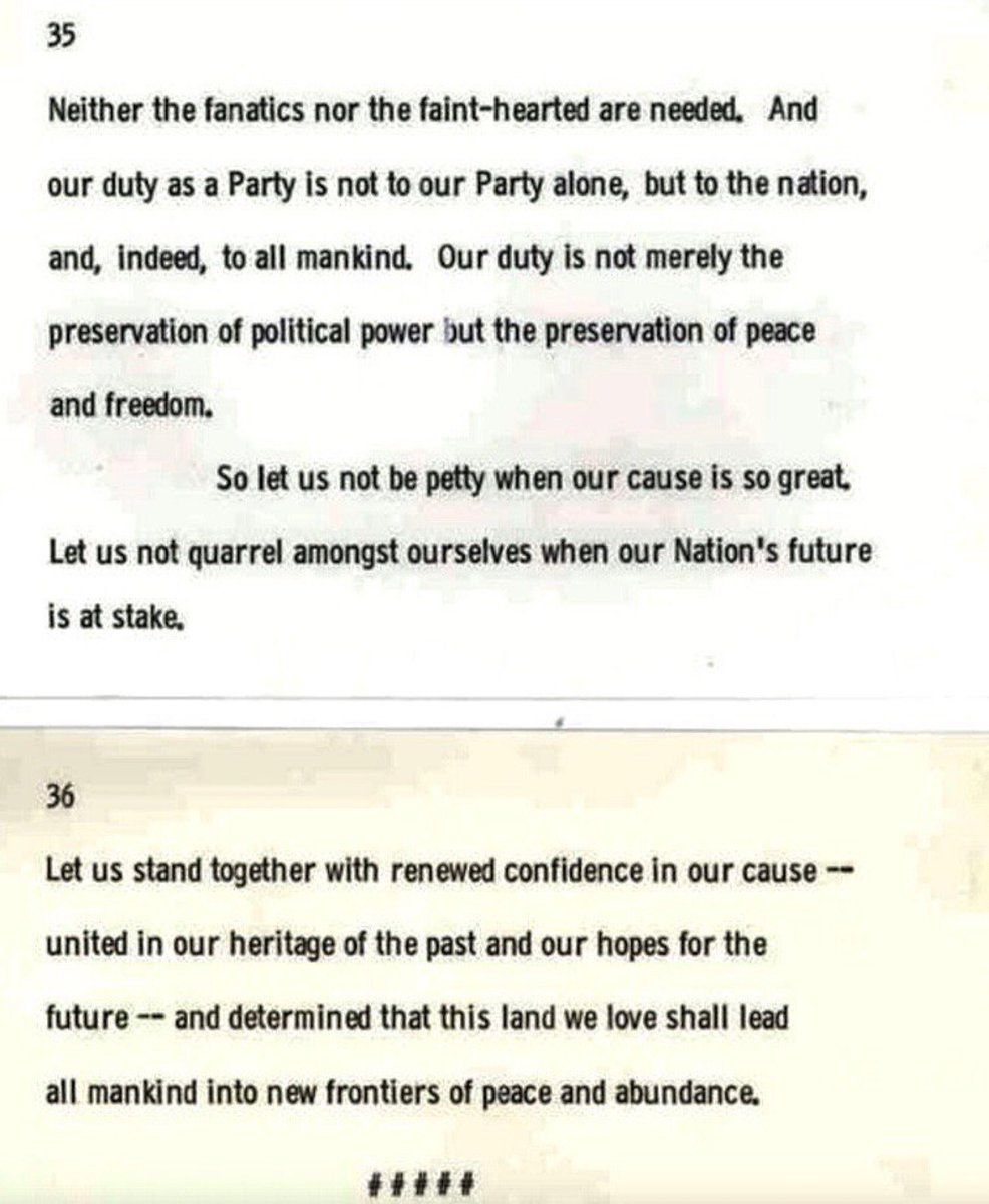 These are JFK's last words, written on notecards for end of speech he planned to give at Austin, Texas, banquet this evening 1963: https://t.co/ETeUAnkcNr