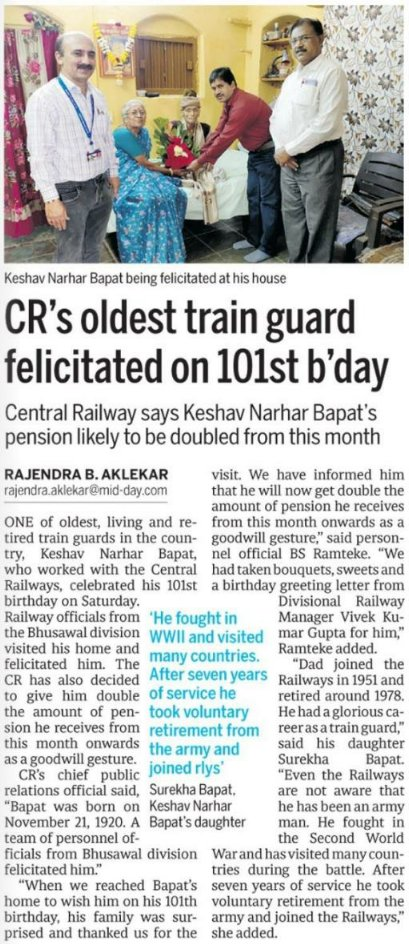 Central Railway's oldest train guard felicitated on101st birthday.