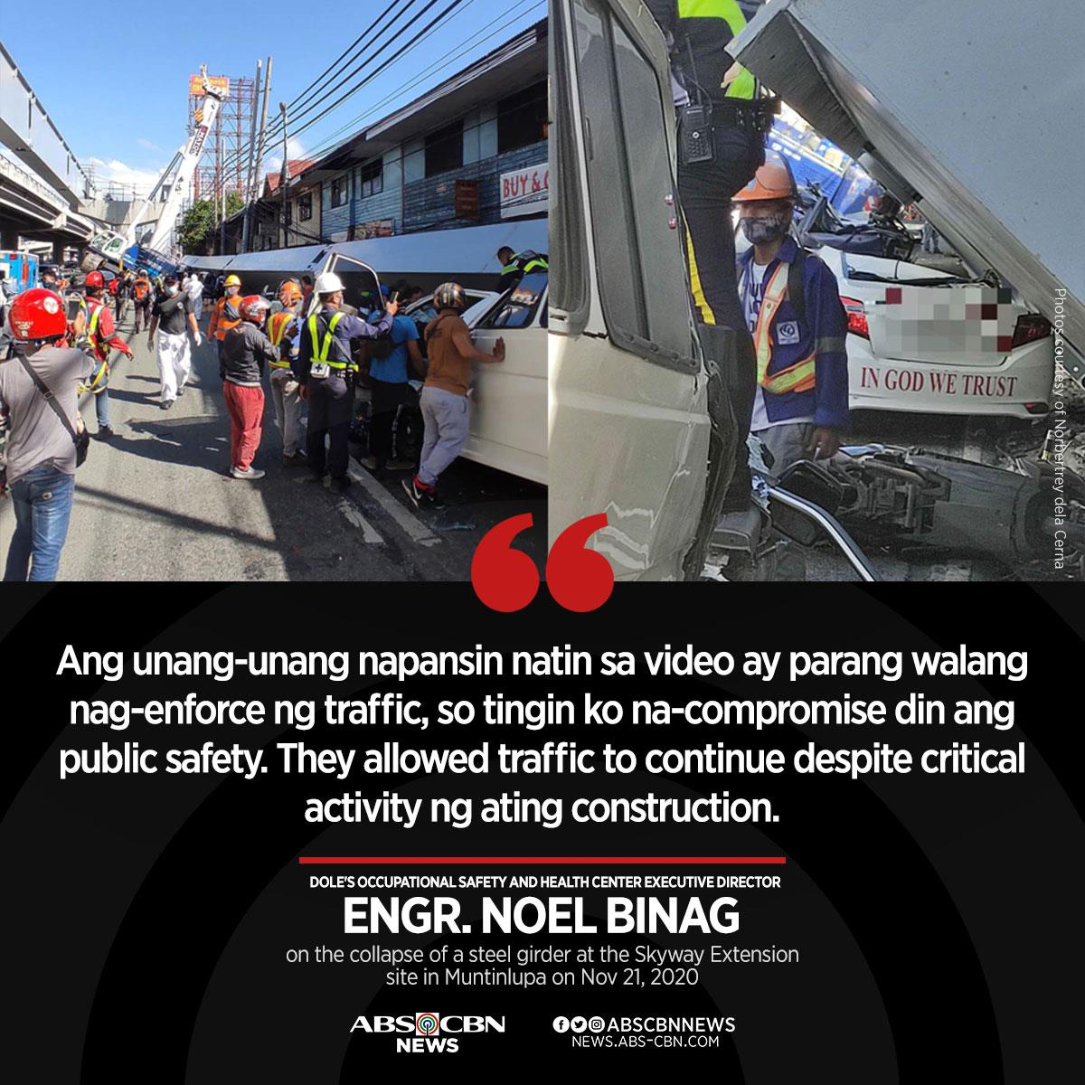 Traffic enforcers and warning signs could not be seen in videos of the accident that were uploaded on social media, said Engr. Noel Binag.   Read: https://t.co/Rg6EPoPdW9 https://t.co/IWehJTMZe0