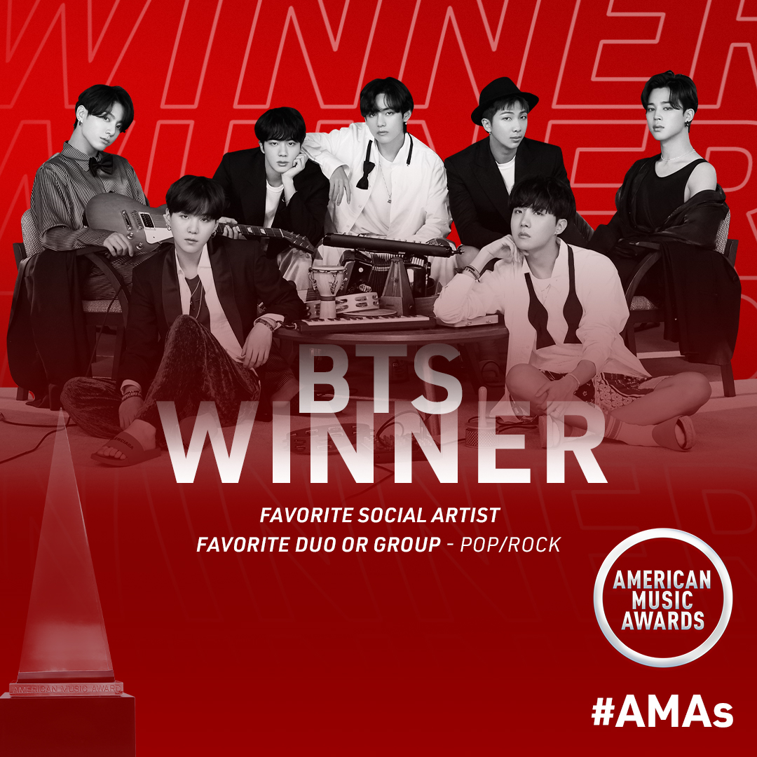 ARMY, you did it! @BTS_twt wins Favorite Social Artist and Favorite Duo or Group - Pop/Rock at the #AMAs 💜