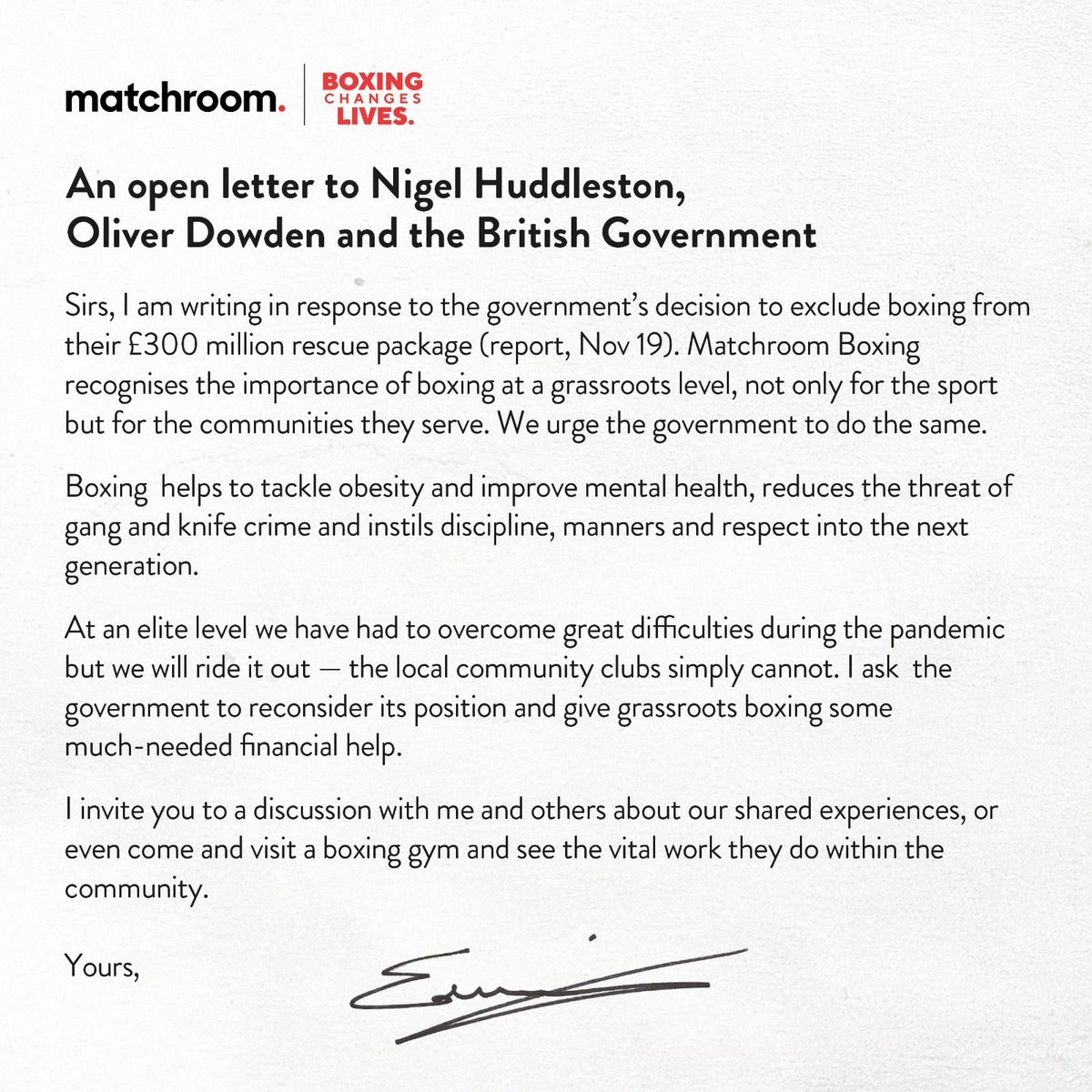 Today, I have written to @HuddlestonNigel @OliverDowden in the hope they consider including grass roots boxing in the Government rescue package for sport. I strongly believe that our sport is unique in the role it plays within the community.