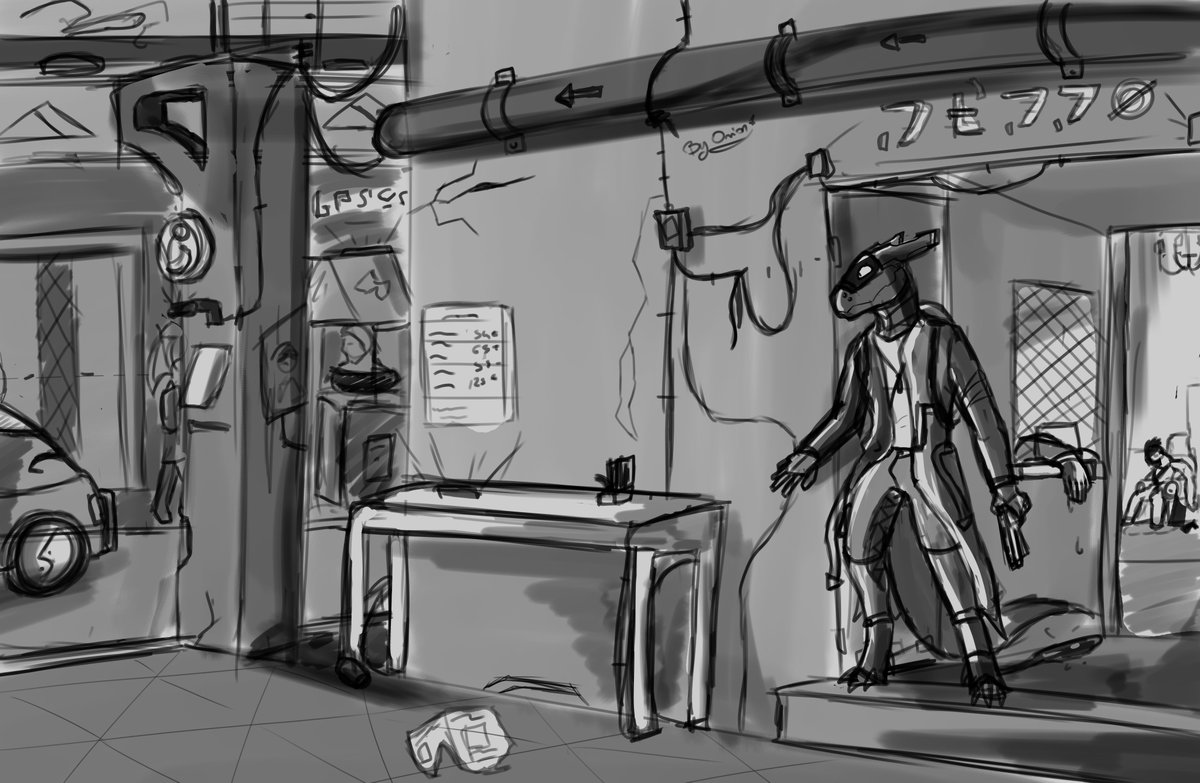 sketchy background training , featuring my synth , MutE , in a cyber-ish world i wih i was good at painting , so i could finish it , sadly this is the best i can do without ruining it...