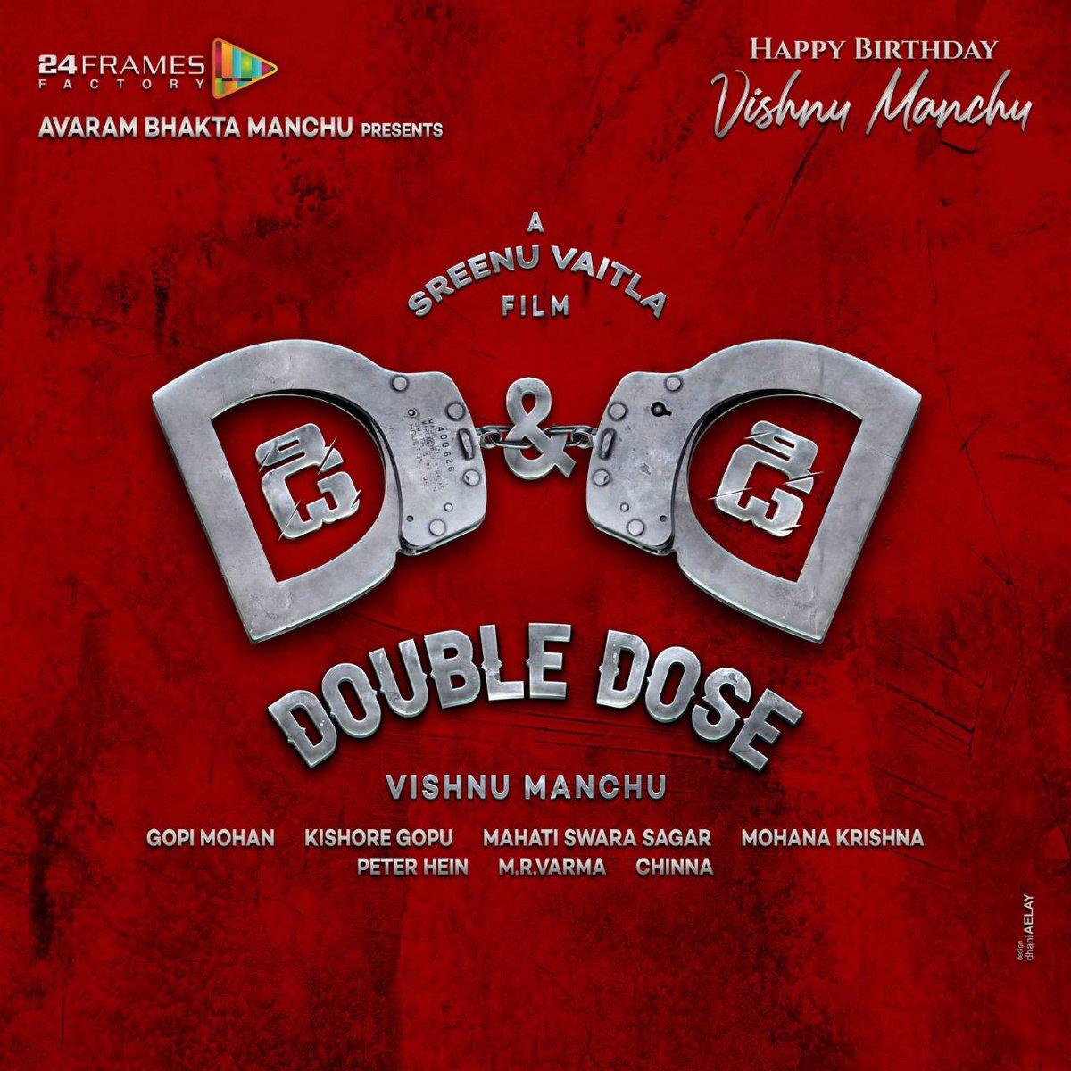 D&D - #DoubleDose   @iVishnuManchu and @SreenuVaitla team for the second time after the blockbuster #Dhee  A musical of @mahathi_sagar 🎼  @Gopimohan @24FramesFactory @PeterHeinOffl @ursvamsishekar @onlynikil   #HBDVishnuManchu