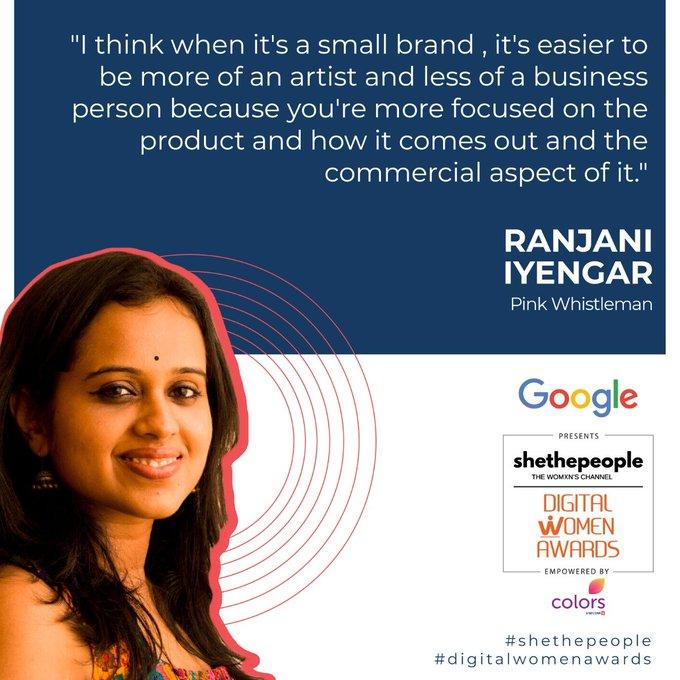 Ranjani Iyengar of Pink Whistleman talking about the benefits of starting small at #DigitalWomenAwards