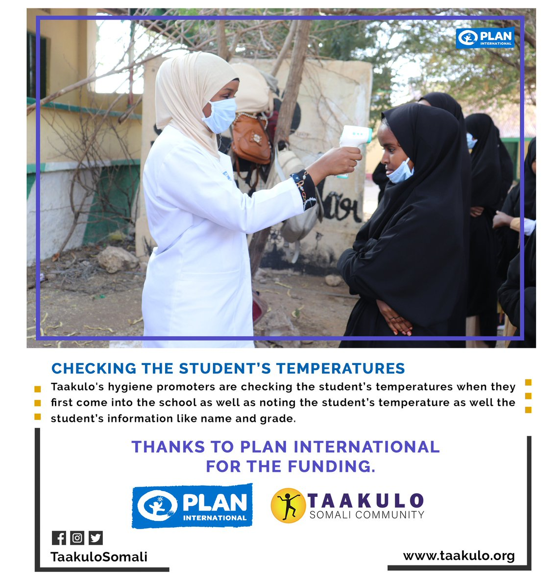 Taakulo hygiene promoters are checking the student's temperatures when they first come into the #school as well as noting the student's temperature. Thanks @PlanUK  for the funding.   #planinternation @decappeal #decappeal