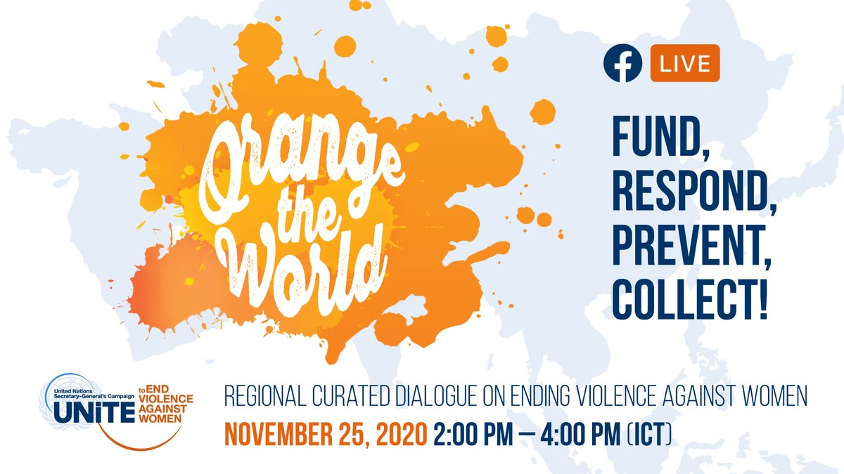 Every year, we mark the #16Days of Activism against Gender-based Violence. This year's observance is critical. GBV has escalated amid #COVID19 - forcing societies to confront the challenge as never before.   Join us this Wednesday at 2pm ICT on Facebook: https://t.co/CVdpKhsl3R https://t.co/dY9iterLy4.