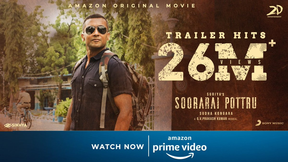 26M+  strong!!!! 💪🏻 Thank you for all the love you've been showering on Maara!!  #SooraraiPottruOnPrime, watch now, @primevideoIN   @Suriya_offl #SudhaKongara @rajsekarpandian @gvprakash @nikethbommi @Aparnabala2 @editorsuriya @jacki_art @guneetm @sikhyaent @SonyMusicSouth