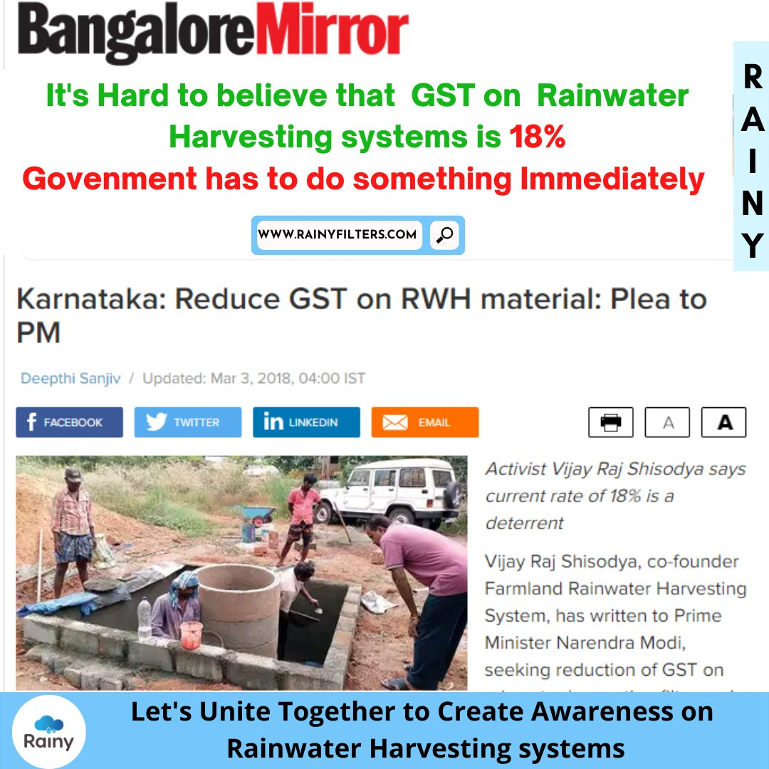 "RWH is an investment for the #future.  ""It helps to increase the #groundwater by not drawing #water from #borewell for at least 150 days as well as #saving water from KRS that can be used only in #summer  #MissionPaani #rainwater #gst #uniteindia #rainwaterharvesting #rainyfilter"