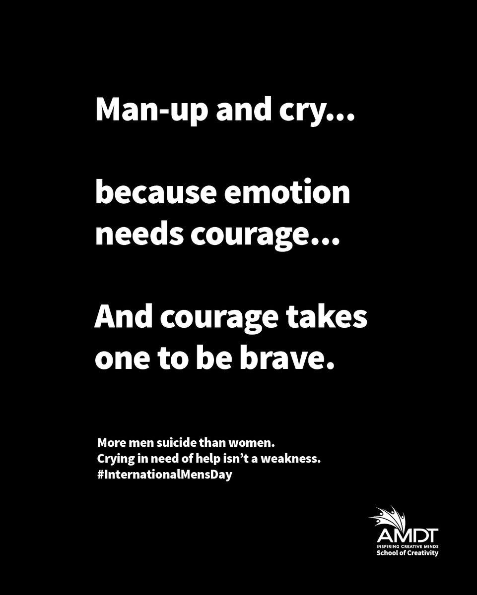 Our tribute to all brave men who are not afraid to show their true emotions... You define Courage. You define Bravery. You define Manliness. You define Men.   #WeAreAMDT #CreativityStartsHere #Creativity #CelebratingMen #WorldMensDay #ItsOkayToCry #SriLanka #Maldives https://t.co/C6HTQZJbDN