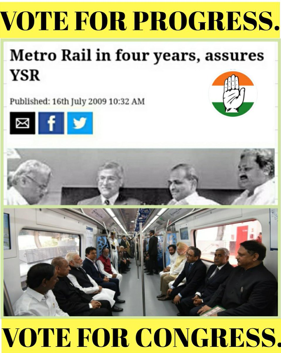 Let not KTR fool you into believing   that they brought the metro to Hyderabad.   The foundation stone for Hyderabad Metro was laid by YSR built on by Kiran Kumar Reddy govt.!!!   It was all ready made for KCR who was the beneficiary of Congress development!!!   #GHMCWithCongress https://t.co/6jgPSrcwUb