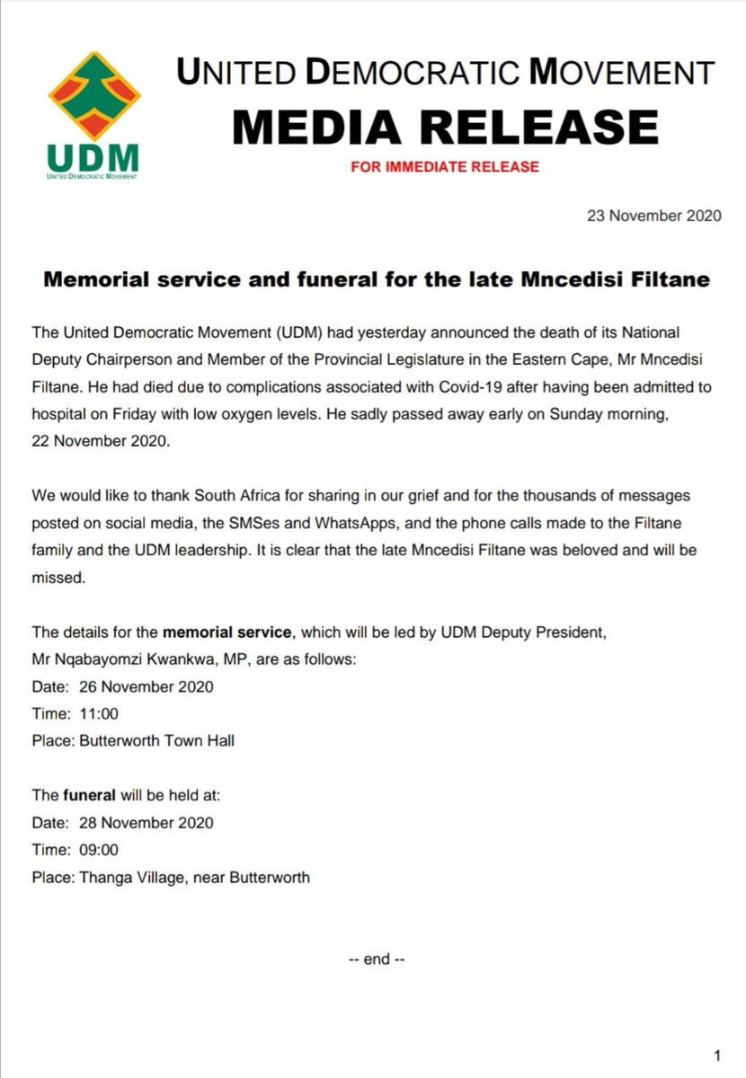 #RIPMncedisiFiltane: Herewith the information on the memorial service (11am on Thursday in Butterworth) for the late Mr Mncedisi Filtane and the funeral is to be held in Thanga Village on Saturday at 9am https://t.co/0WbmPhMc9z
