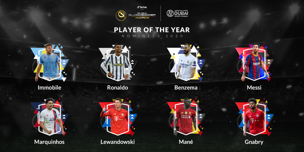 📜 And the nominees for the PLAYER OF THE YEAR 2020 Globe Soccer Award are: Ciro Immobile, Cristiano Ronaldo, Karim Benzema, Lionel Messi, Marquinhos, Robert Lewandowski, Sadio Mané and Serge Gnabry  👉 VOTE now: https://t.co/sVxrPmdu15 https://t.co/NDSUtHqhrO