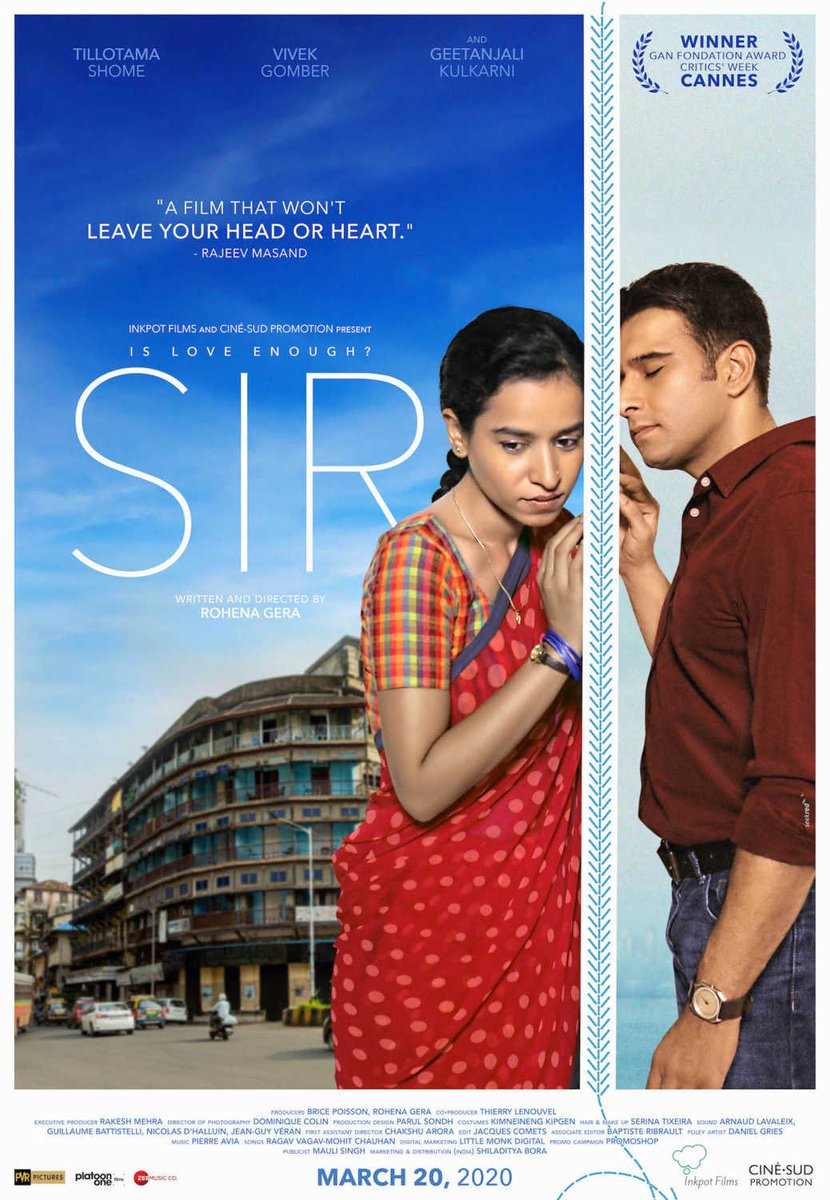 SIR a FANTASTIC film...! Watch it in theatres.  Theatres are SAFE 😊   GREAT work @RohenaGera !!! Heartiest Congratulations!!!!!