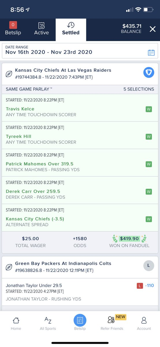 Replying to @JacobHarrison07: A last minute Kelce touchdown secured this nice win! @FDSportsbook @HammerDAHN #SameGameParlay