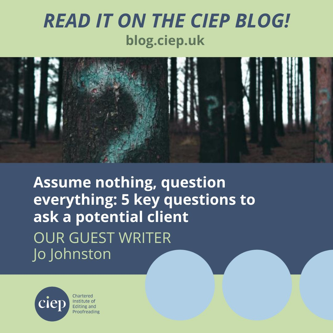 On the CIEP blog: Assume nothing, question everything: 5 key questions to ask a potential client bit.ly/3426TJh