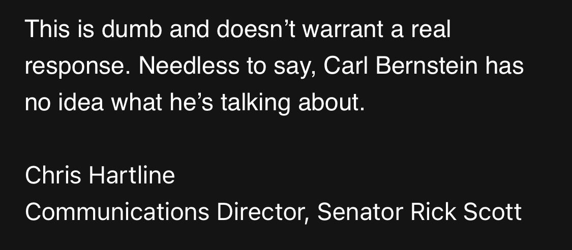 """Inbox: @SenRickScott spox denies @carlbernstein report that the senator privately displays """"extreme contempt"""" for the president: """"This is dumb and doesn't warrant a real response. Needless to say, Carl Bernstein has no idea what he's talking about."""""""