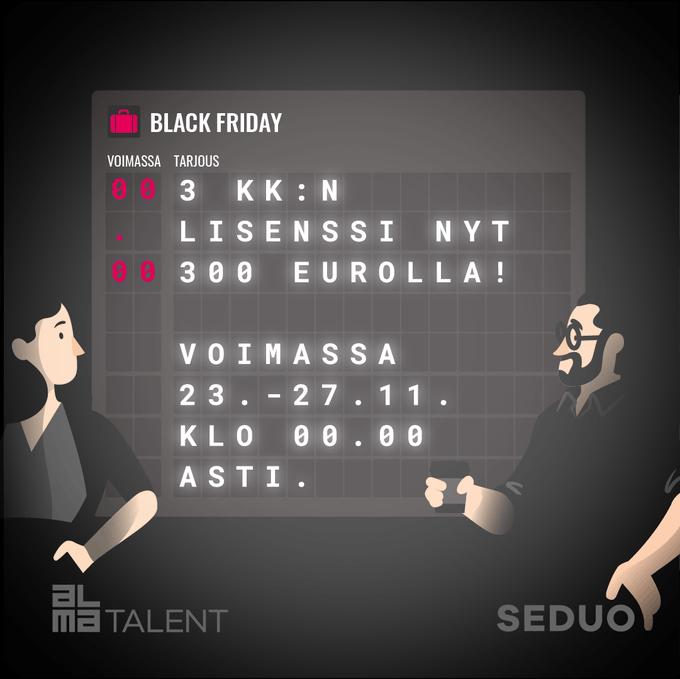 Black Week on täällä! Ota äkkilähtö osaamiseen ja tilaa Seduon lisenssi nyt mahtavaan kamp....