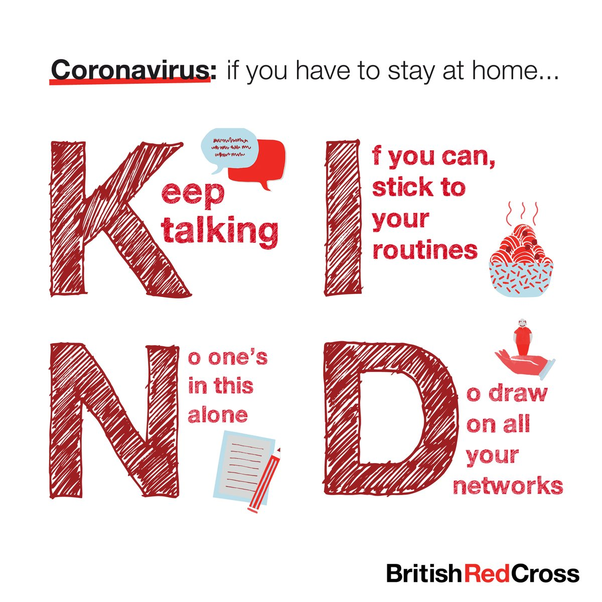 Recognise that Loneliness is a big issue for our community especially during the current crisis. We fully support the British Red Cross to remember to be K.I.N.D #community