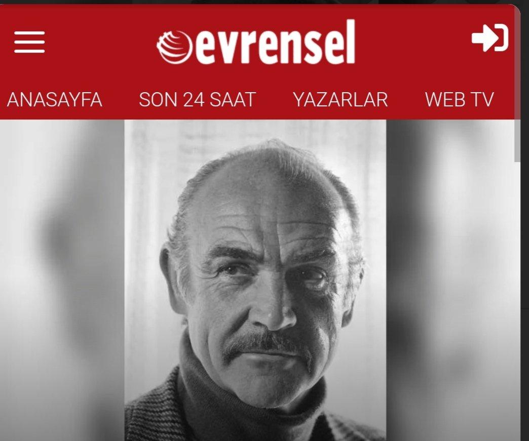 Rasim Ozan Kütahyalı, Sean Connery'nin ölüm haberi hiç bir Türk basının yazısında geçmedi demiş Evrensel gevur gazetesi mi moruk ? #RasimOzanKütahyalı #Evrensel #SeanConnery