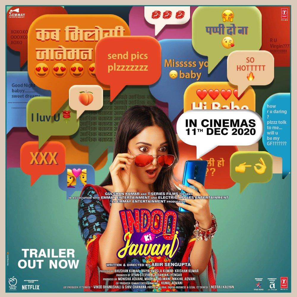 Indoo and Samar have boarded the online dating rollercoaster, and have set off on a helluva ride! Here's a sneak peek! #IndooKiJawani Trailer out now! Tune in!   @advani_kiara @AdityaSeal_ #MallikaDua @AbirSenguptaa @monishaadvani @madhubhojwani