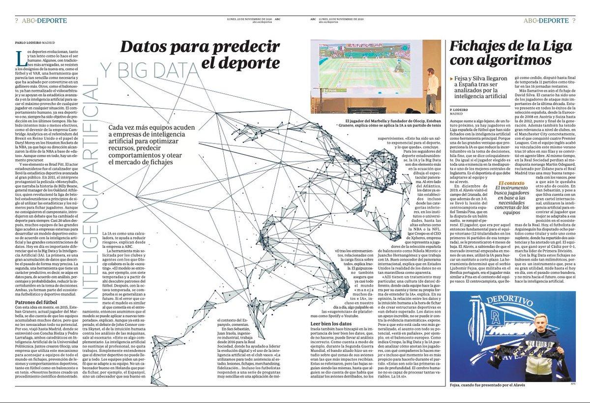 🗞️Hoy en @abc_es @abc_deportes. Por @pablolodeiro  ✅Inteligencia artificial para predecir el deporte 📝Diferencias entre #IA y #BigData. La importancia de la contextualización  #IA #prediccion #prescripción