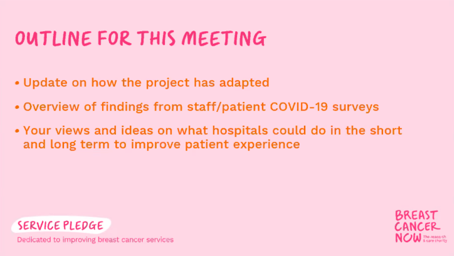 We know COVID-19 has affected patient experience. On Friday, as part of our Service Pledge programme, we brought together our experienced Patient Advocates and local patient representatives to discuss what changes breast care services could make to improve patient experience.