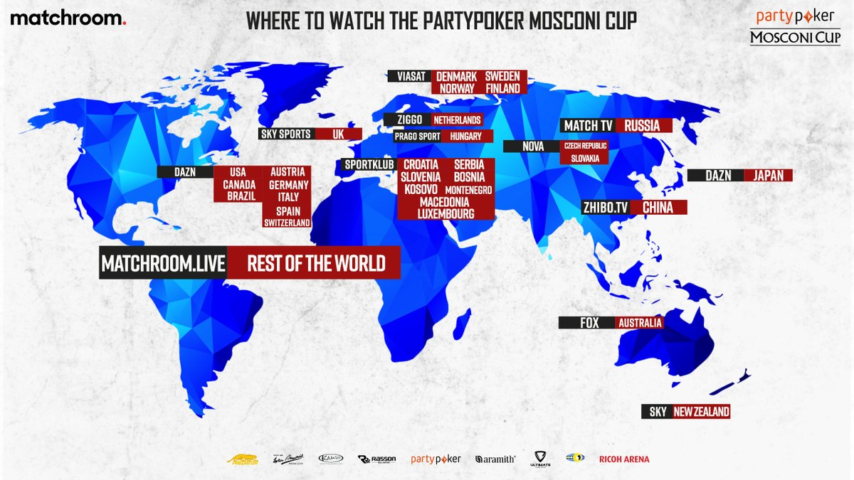 📺🌍 Heres where you can watch the @partypoker #MosconiCup, wherever you are in the world! 🇺🇸🇩🇪🇦🇹🇨🇭🇨🇦🇧🇷🇮🇹🇪🇸🇯🇵@dazngroup 🇬🇧 @SkySports Mix 🌎 Matchroom.Live where there isnt a broadcaster listed!