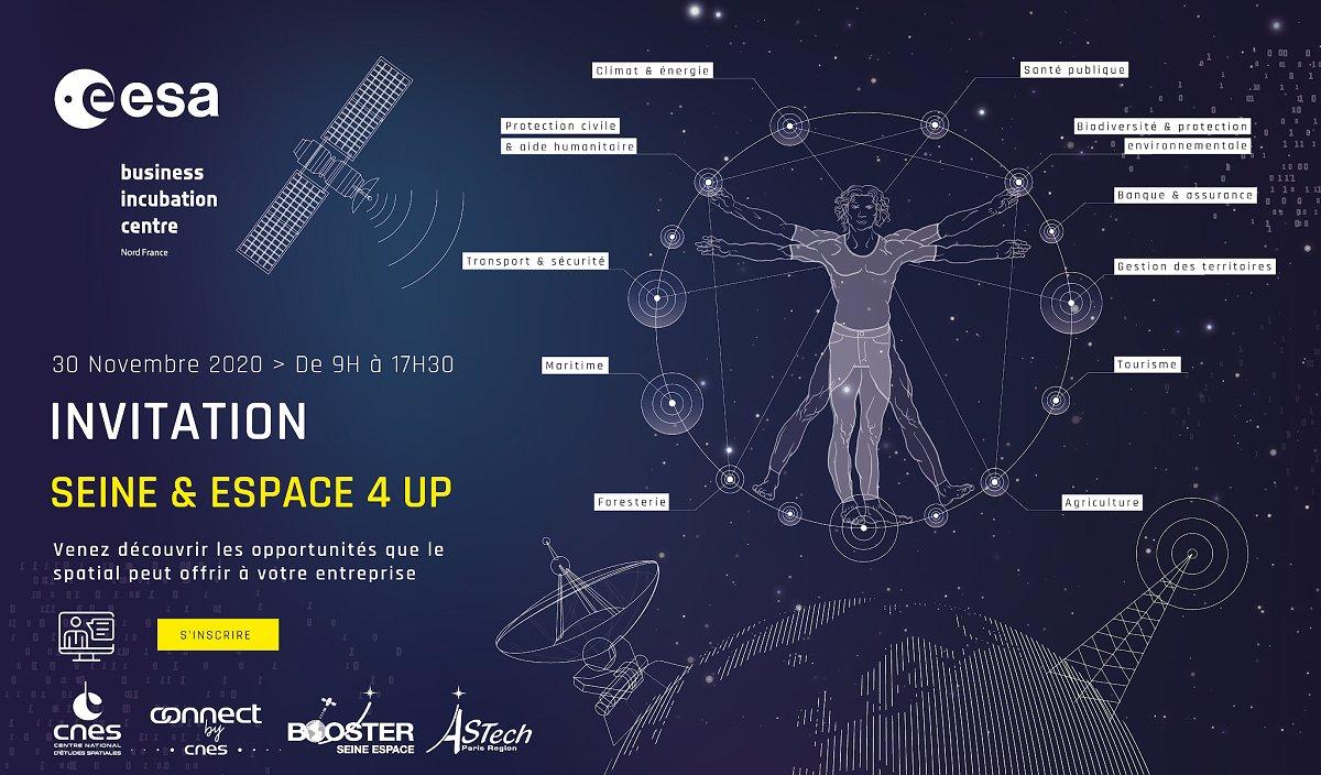 [Invitation] 👋🚀 Développez vos projets grâce au spatial ! Participez à #SeineEspace4UP, une journée consacrée aux opportunités de développement que le spatial peut offrir aux entreprises @iledefrance. 📝 Inscrivez-vous ! 🗓️ 30/11/2020 – 9h–17h30 ⬇️⬇️