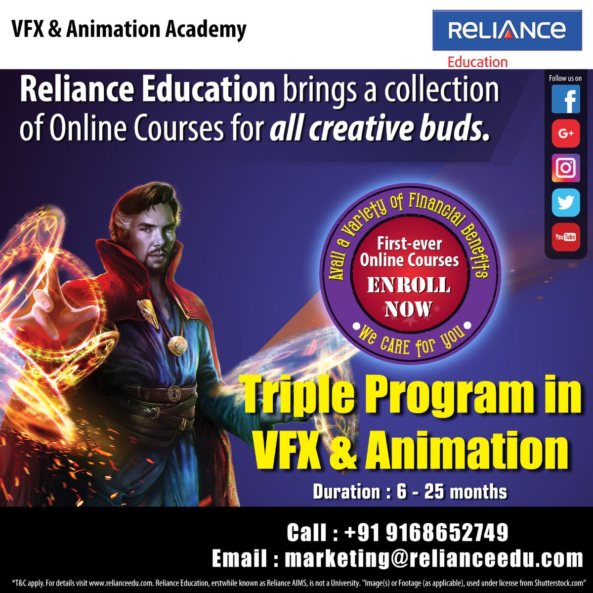 @relianceaims brings a collection of #OnlineCourses for all creative buds! Enroll now for VFX, Animation #OnlinePrograms & avail a variety of financial benefits! 📞9168652749 marketing@relianceedu.com  @RelianceAni @RelianceGames @RelianceEnt @reliancegroup