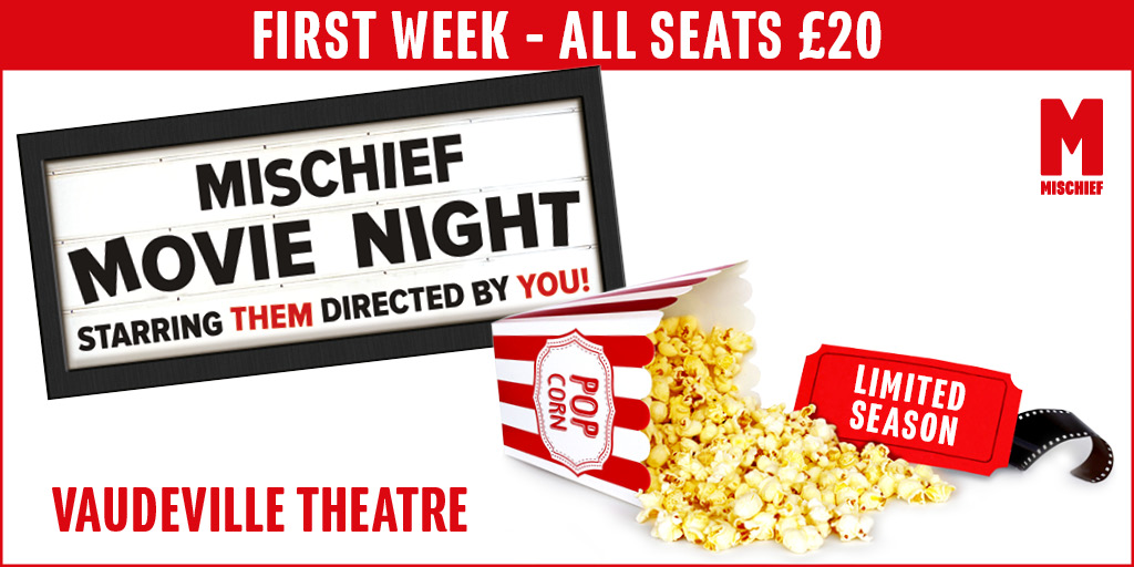 Mischief Movie Night returns to London! Experience an improvised movie LIVE on stage, with a new one every night 📽️🍿  Catch @henrywlewis, @JonathanSayer1, @DaveHearn2, Nancy Zamit and more in ACTION from 9 December 2020 - 31 January 2021: