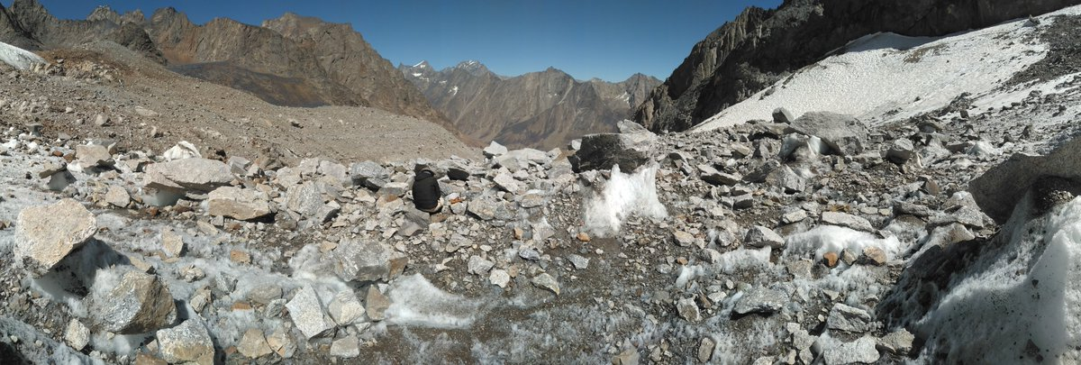 Glaciers in #Afghanistan are part of the #HinduKush #Himalaya region. Here, a thick debris-cover may protect the ice from solar radiation & high air temperatures & reduce melt.  Transitions of clean ice → dirty ice → substantial debris cover may matter in water resource terms. https://t.co/khIcSJ46tS