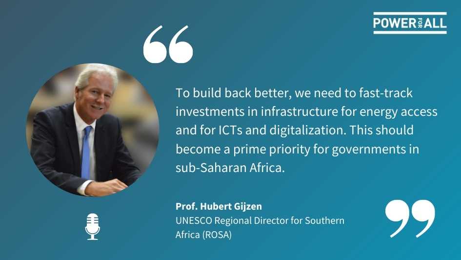 In our new #podcast, we spoke w/ @unescoROSA Director Prof. Hubert Gijzen about how #offgridsolar tech can help end the digital #education divide   Don't miss our next episode, follow us on your favourite app  #SDG7 #SDGs #SolarEnergy